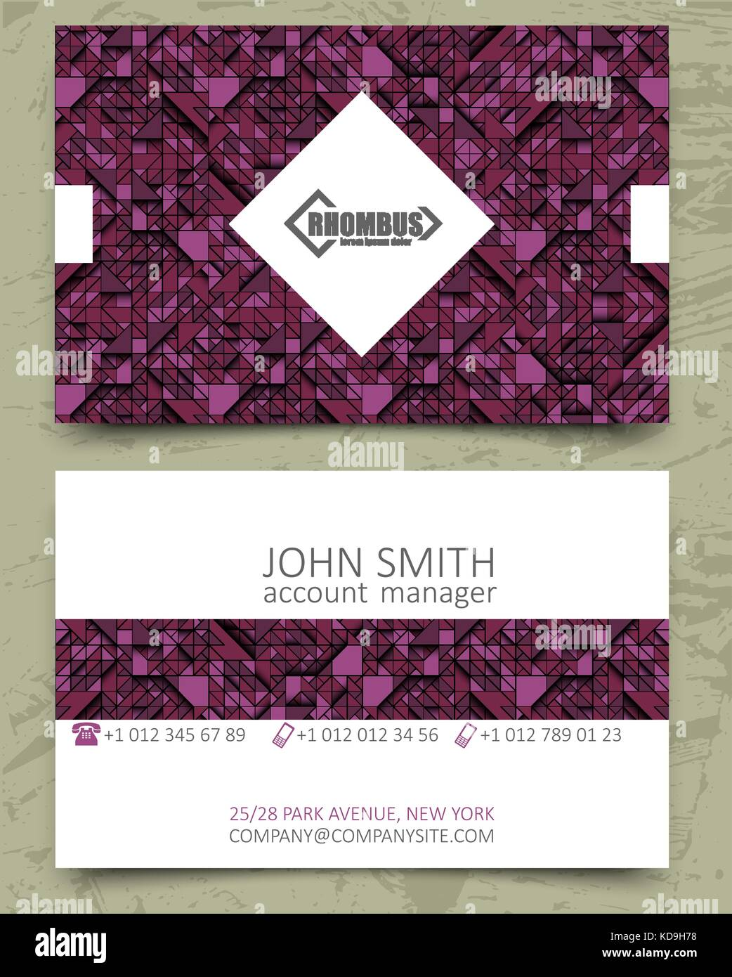 Violet triangles modern business card design template. White rhombus ...