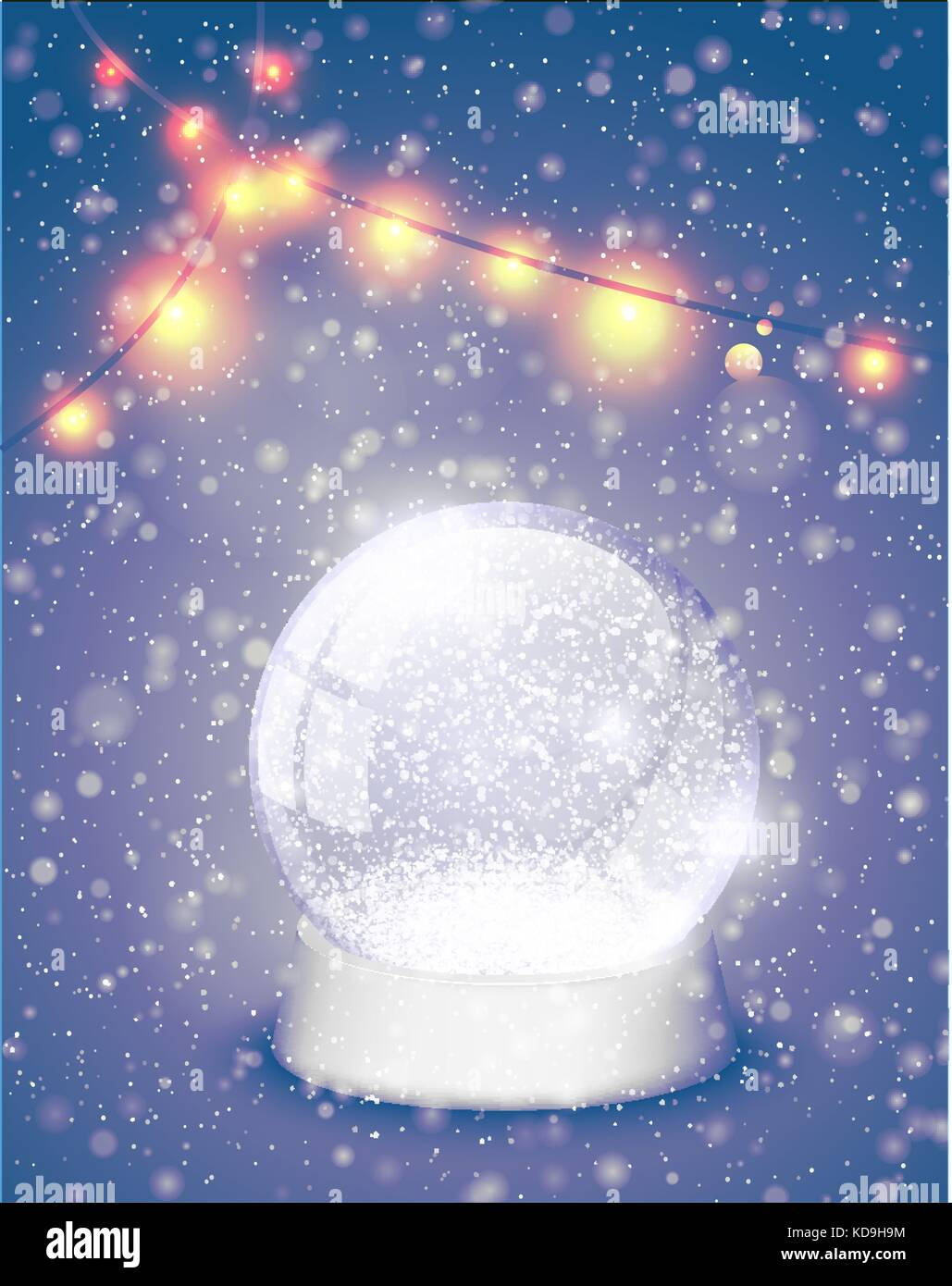 91321ede10ecb Snow globe Christmas magic ball with yellow lights background. Xmas  snowglobe greeting card vector illustration. Winter in glass ball