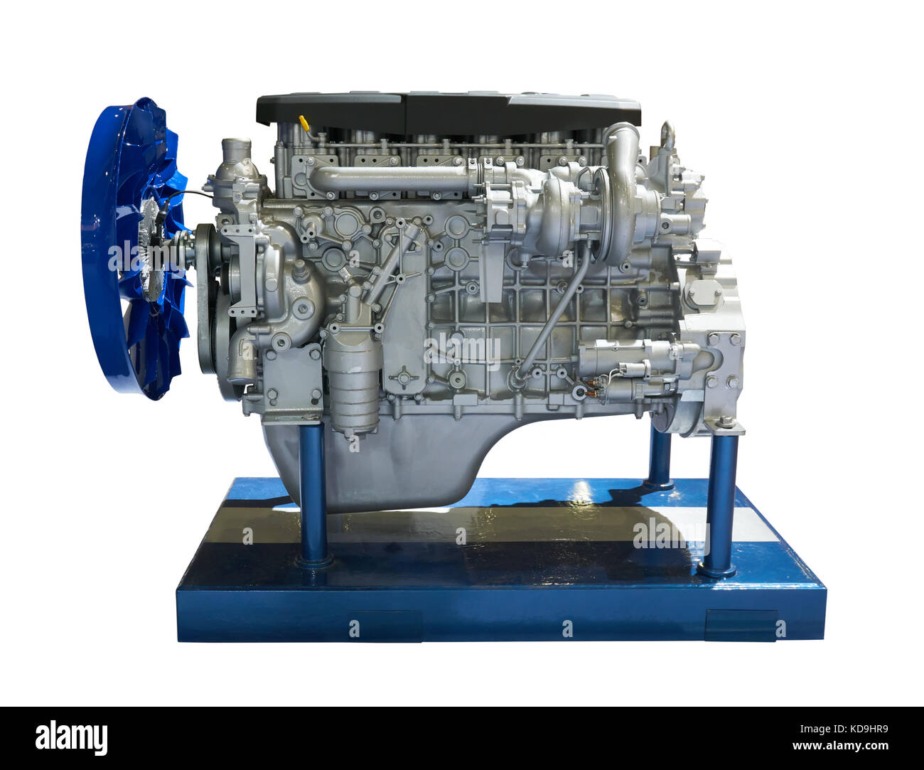 Side view of modern internal combustion engine of the truck Stock Photo