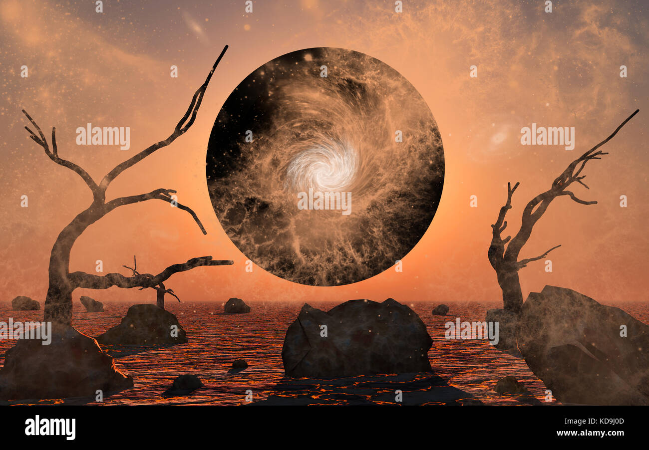 A Planet Being Pulled Into A Black Hole - Stock Image