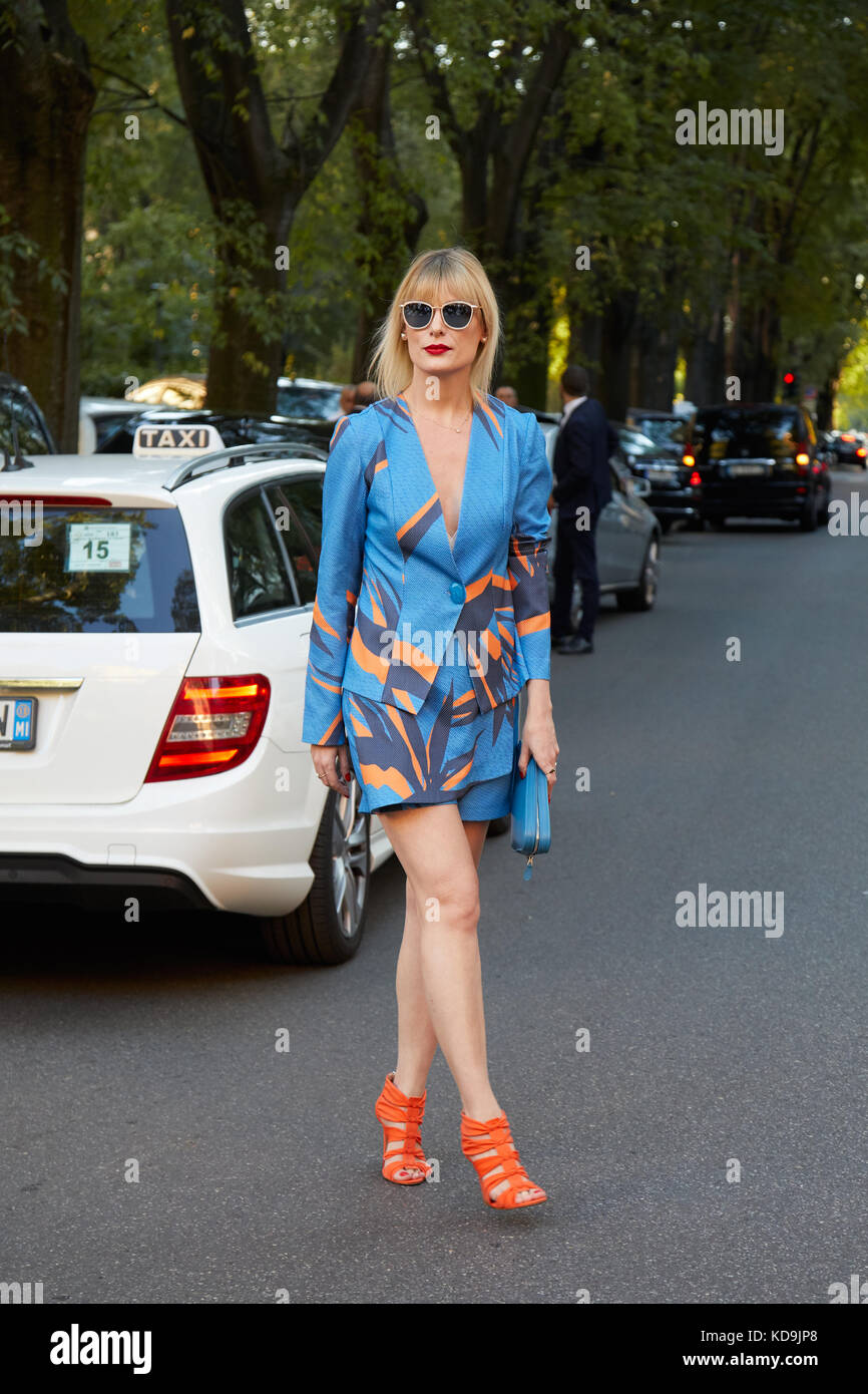 MILAN - SEPTEMBER 21: Woman with blue