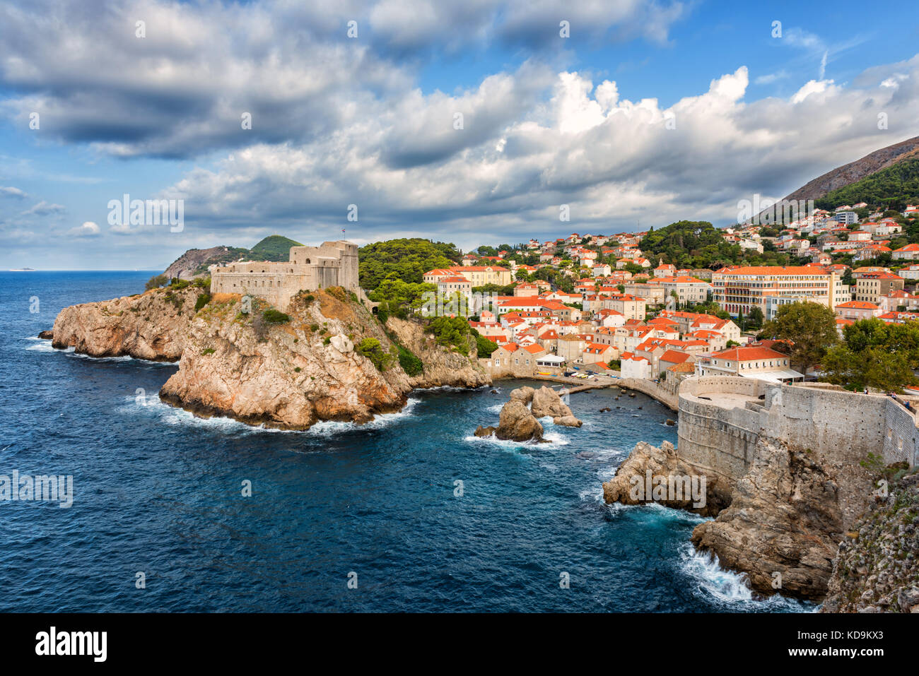 Dubrovnik medieval fortresses, Lovrijenac and Bokar, popular view from the ancient city wall. The world famous and - Stock Image