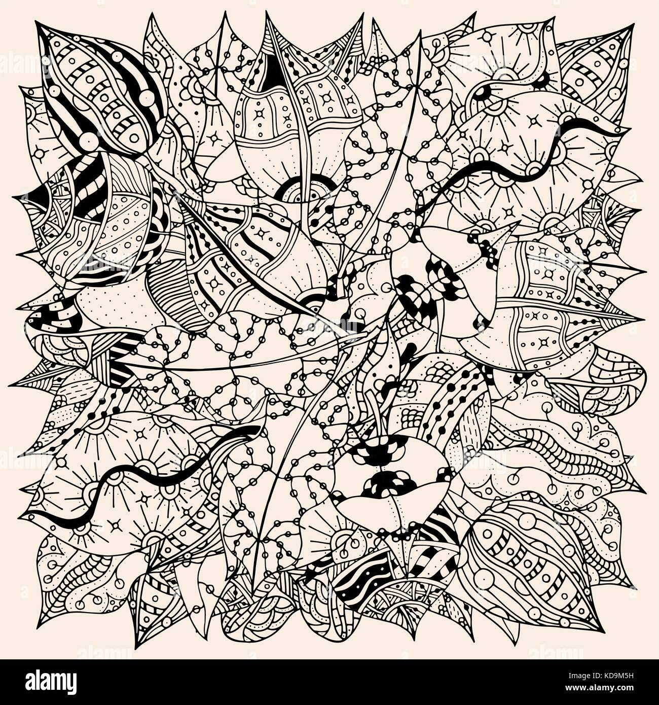 Pattern For Coloring Book With Autumn Leaves Ethnic Floral Retro Doodle