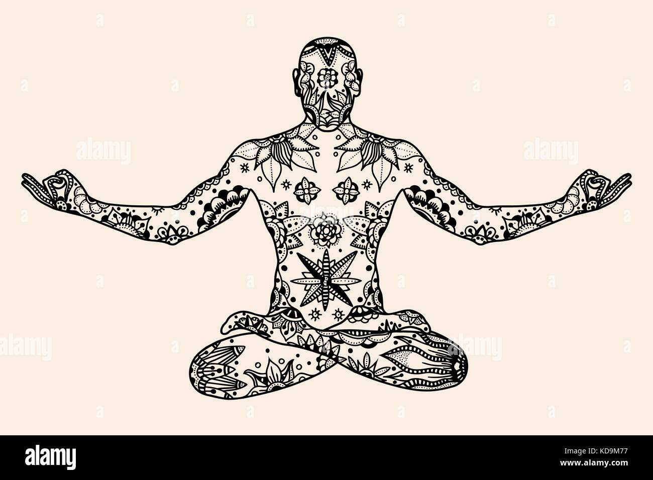 Hand drawn vector Yoga lotus pose with floral elements in Black, beige color doodle style. Pattern for coloring Stock Vector