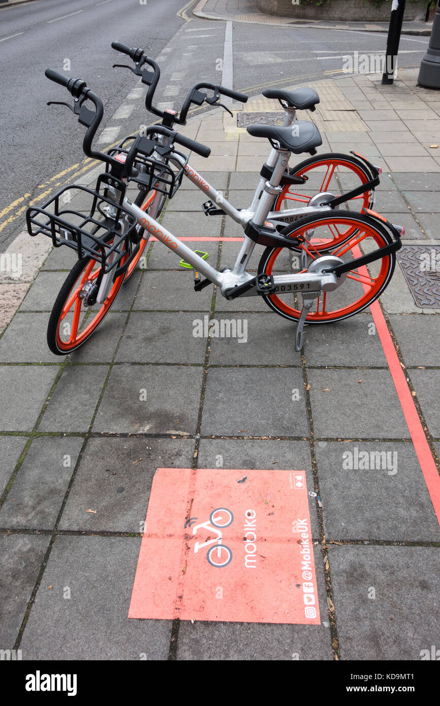 The Chinese bike-sharing app Mobike are going to be renamed Meituan Bike - Stock Image