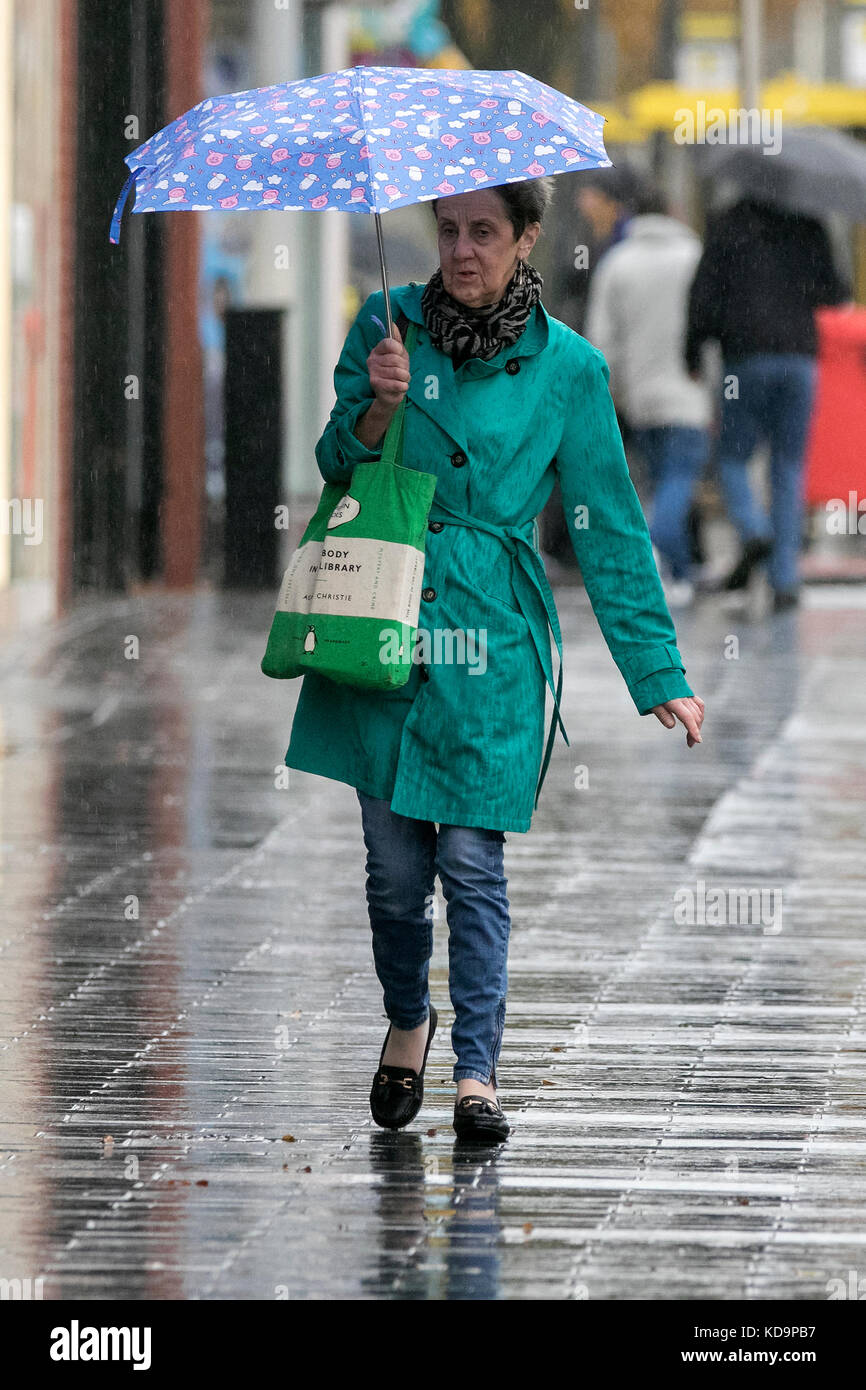 Southport, Merseyside, Heavy Rain in Southport, 11th October 2017. UK Weather.  Wicked wet winter weather pours Stock Photo