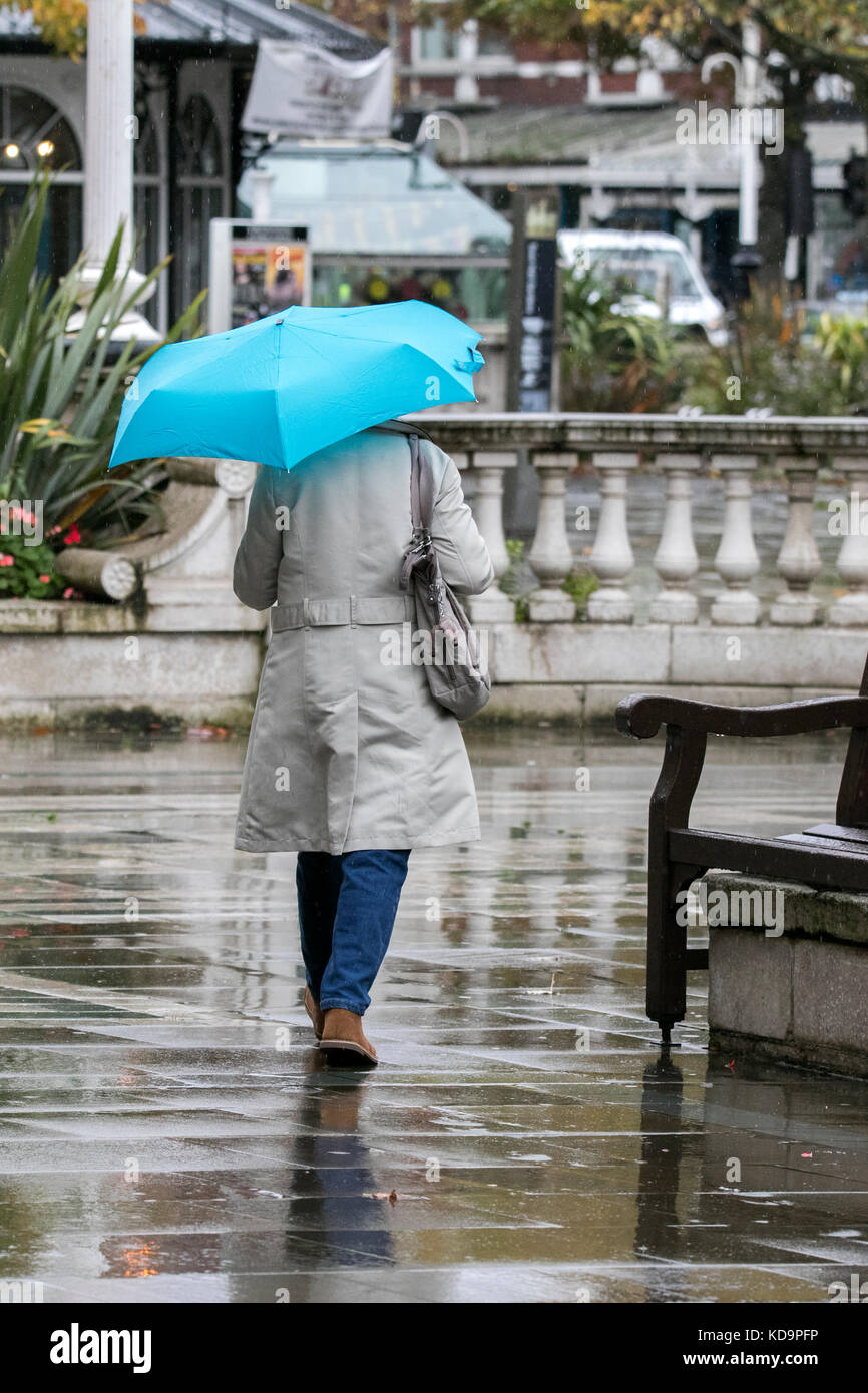 Southport, Merseyside, Heavy Rain in Southport, 11th October 2017. UK Weather.  Wicked wet winter weather pours - Stock Image