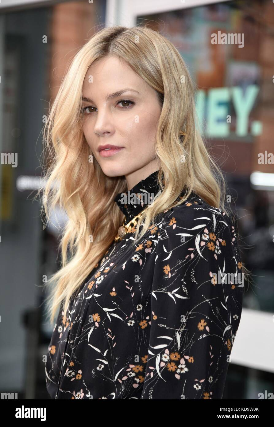 New York, NY, USA. 11th Oct, 2017. Sylvia Hoeks, seen at AOL BUILD to promote her film BLADE RUNNER 2049 out and - Stock Image
