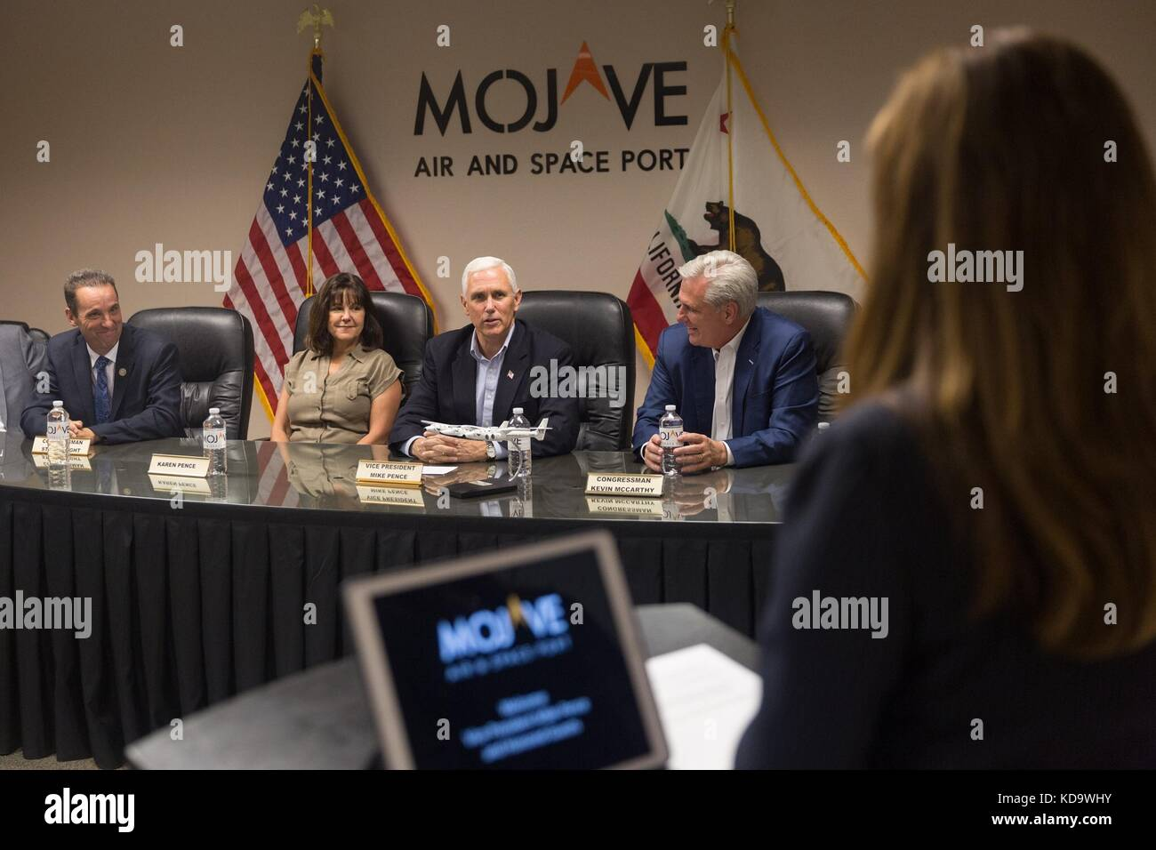 U.S. Vice President Mike Pence, Karen Pence and House Majority Leader Kevin McCarthy, right, hold a meeting after - Stock Image