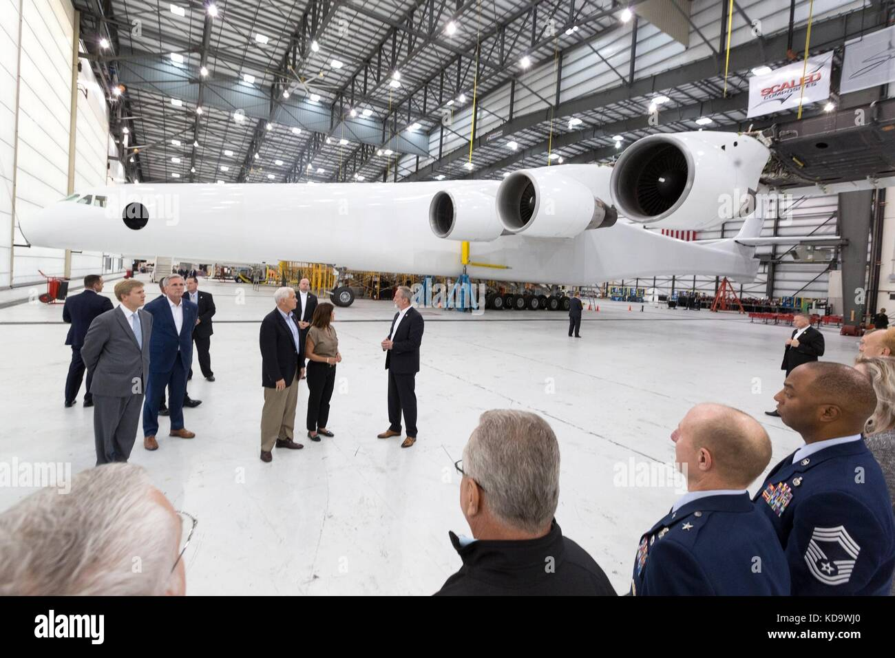U.S. Vice President Mike Pence and his wife Karen Pence tour the Stratolauch Systems hangar at the Mojave Air and - Stock Image
