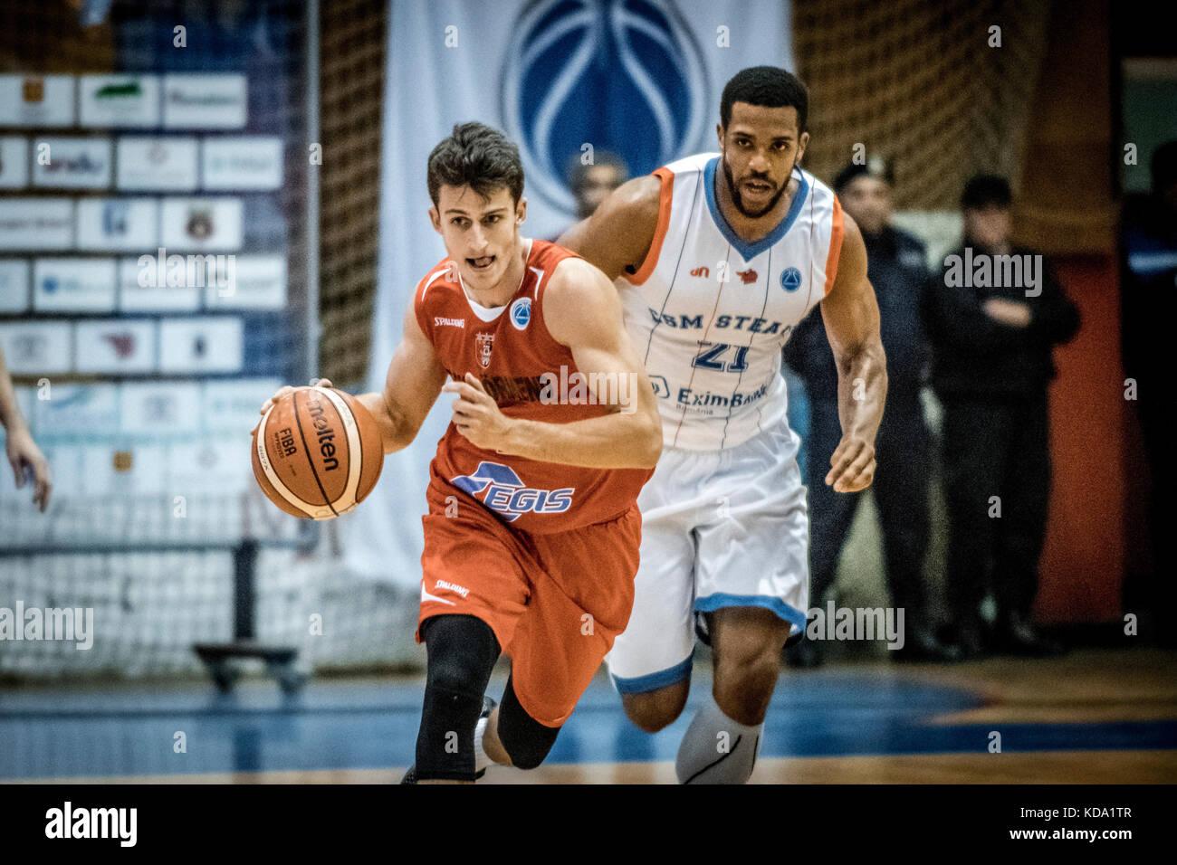 October 11, 2017: Akos Halasz #4 (Egis Kormend)   during the FIBA Europe Cup 2017-2018, game between Steaua CSM - Stock Image