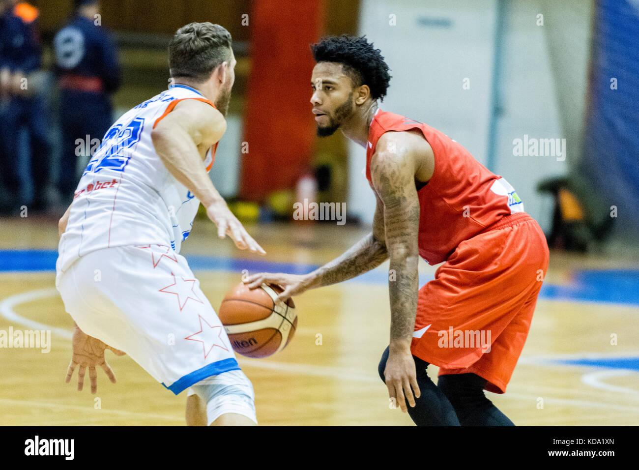 October 11, 2017: Marquis Wright #1 (Egis Kormend)   during the FIBA Europe Cup 2017-2018, game between Steaua CSM - Stock Image