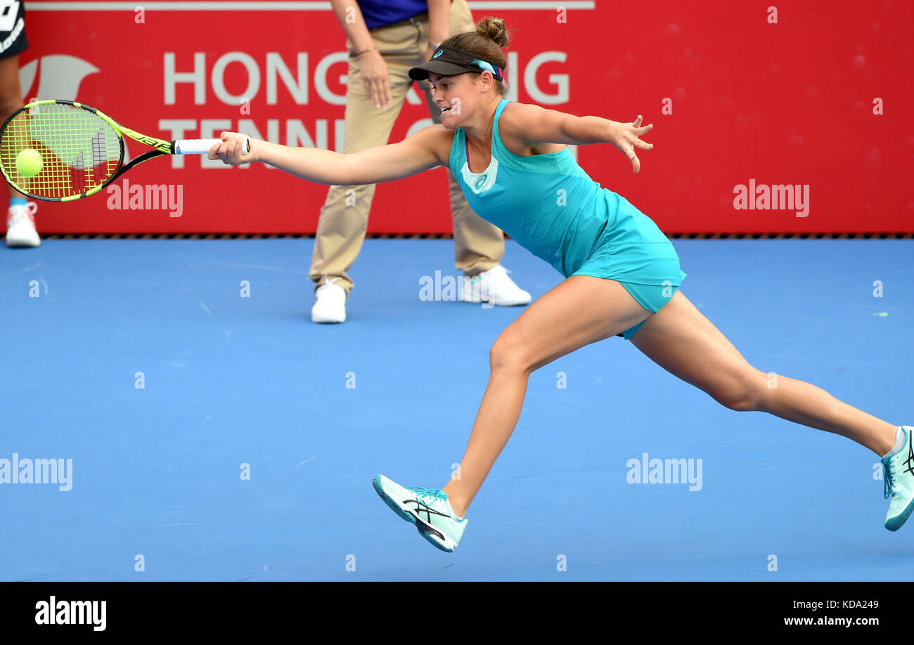 Hong Kong, China. 12th Oct, 2017. Jennifer Brady of the United States hits a return during the singles second round Stock Photo