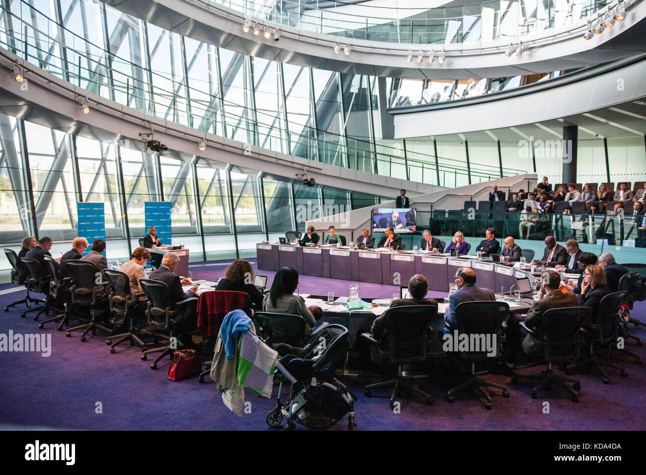 London, UK. 12th Oct, 2017. Mayor of London Sadiq Khan answers questions about subjects including Brexit, Uber, - Stock Image