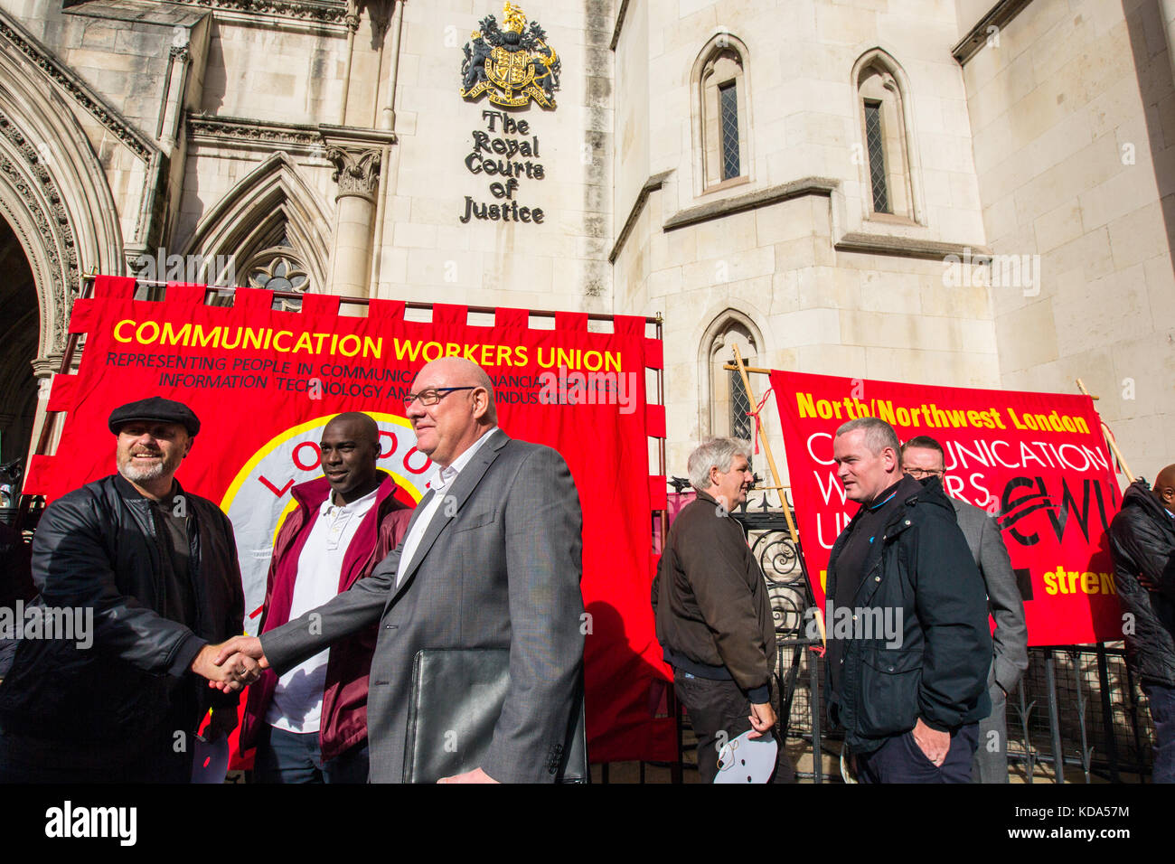 London, UK. 12 October 2017. Dave Ward, General Secretary of the Communication Workers' Union (CWU) outside of the - Stock Image