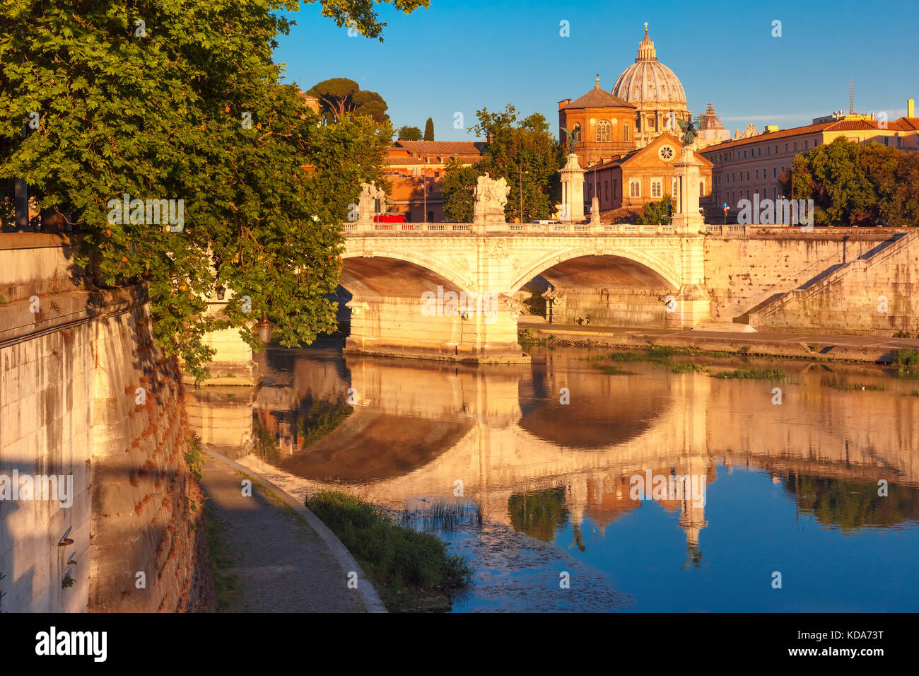 Saint Peter Cathedral in the morning, Rome, Italy. - Stock Image