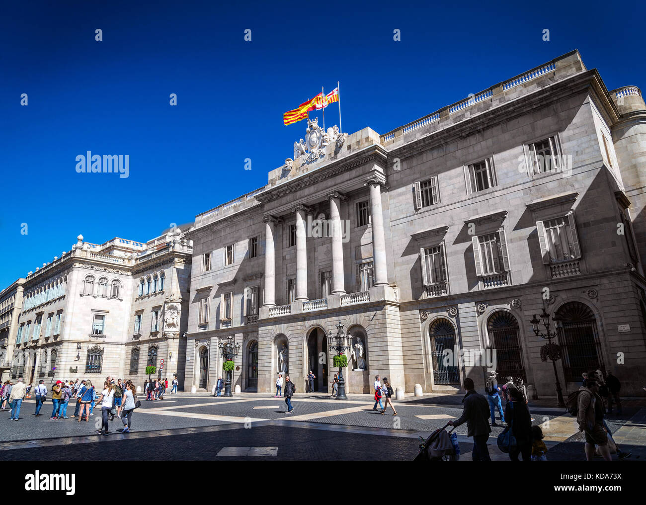 town hall building of the Catalan government at Plaza de Sant Jaume barcelona spain - Stock Image
