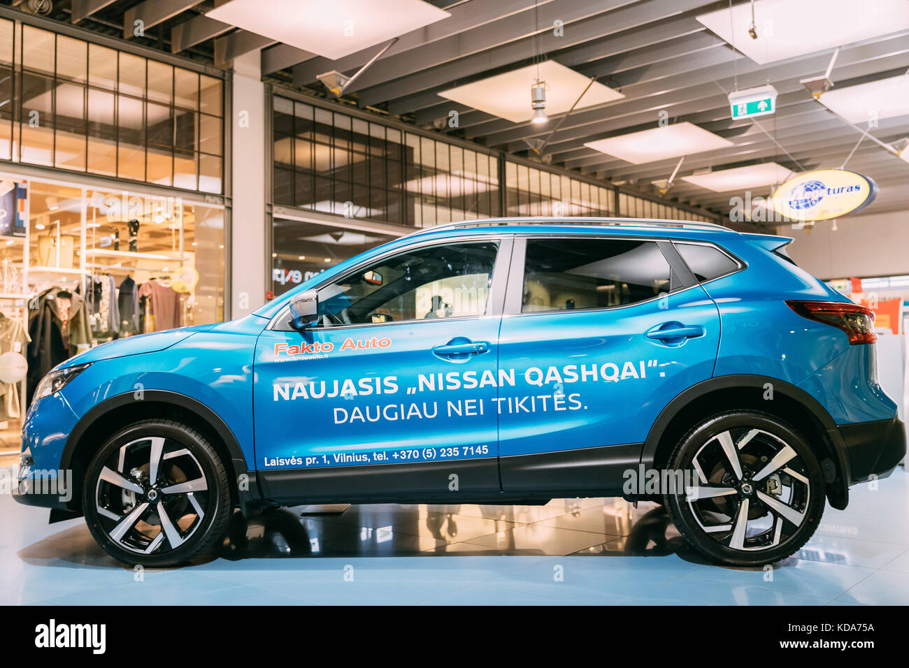 Vilnius, Lithuania - September 21, 2017: Blue color compact crossover SUV Car Nissan Qashqai In Hall Of Shopping - Stock Image