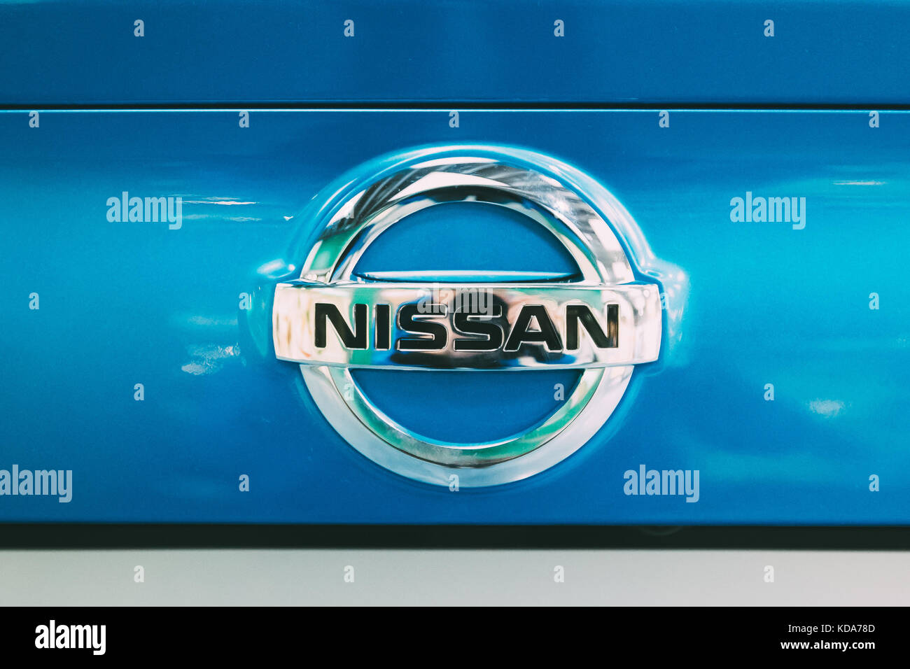 Vilnius, Lithuania - September 21, 2017: Close View Of Metal Logo Of Nissan Qashqai Car - Stock Image
