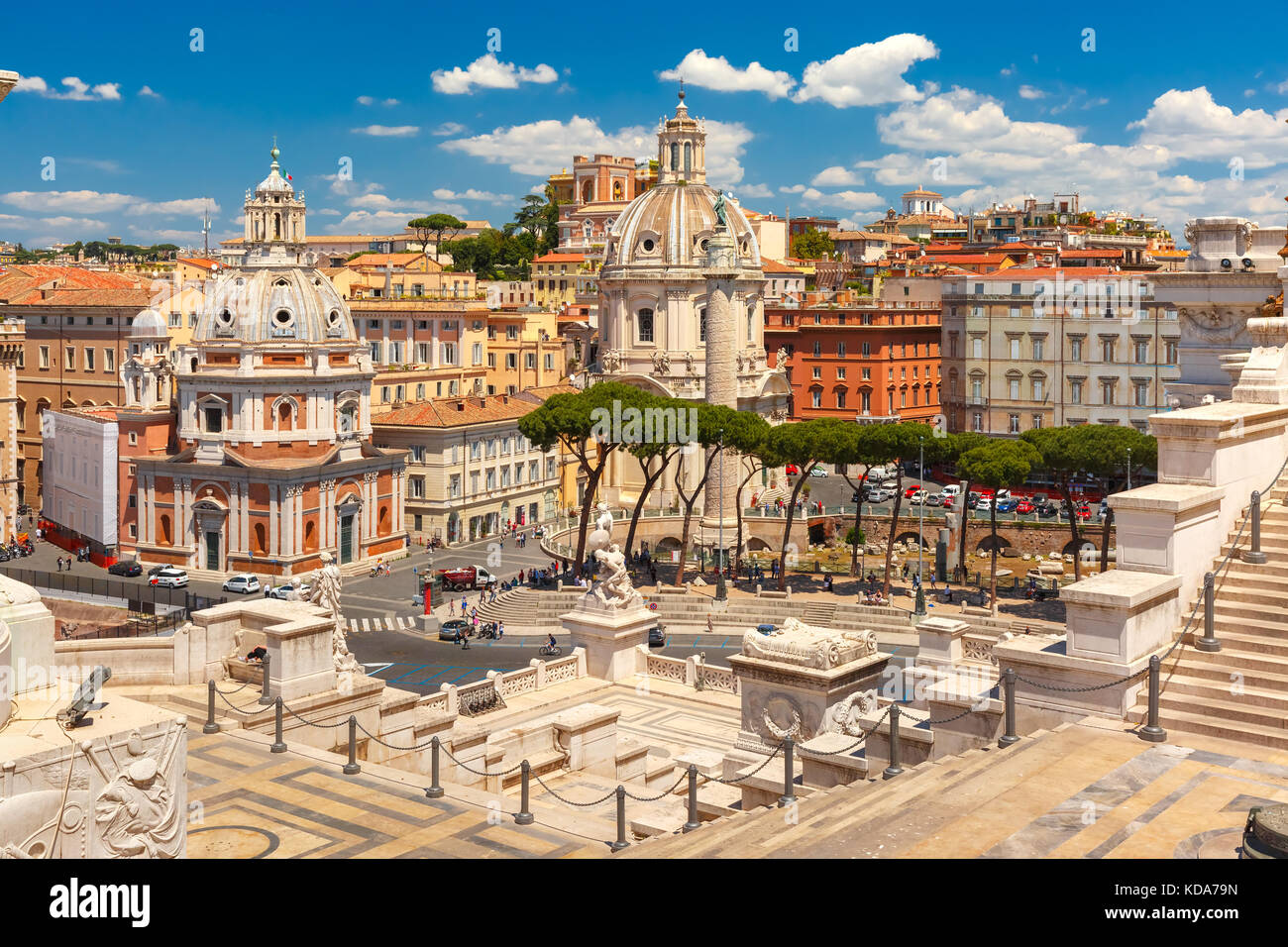 Ancient Trajan Forum in Rome, Italy - Stock Image