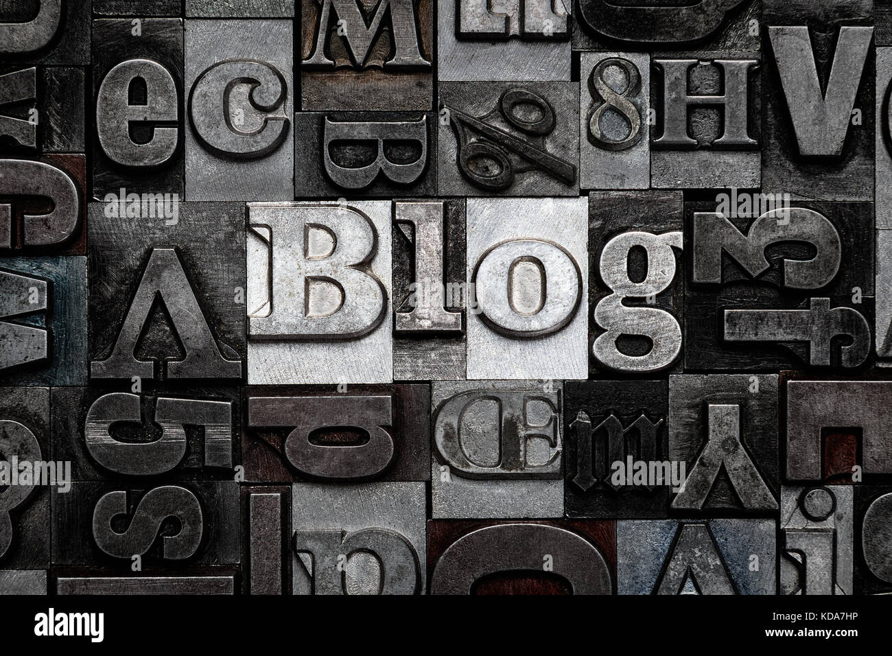 The word Blog made from old metal letterpress letters - Stock Image