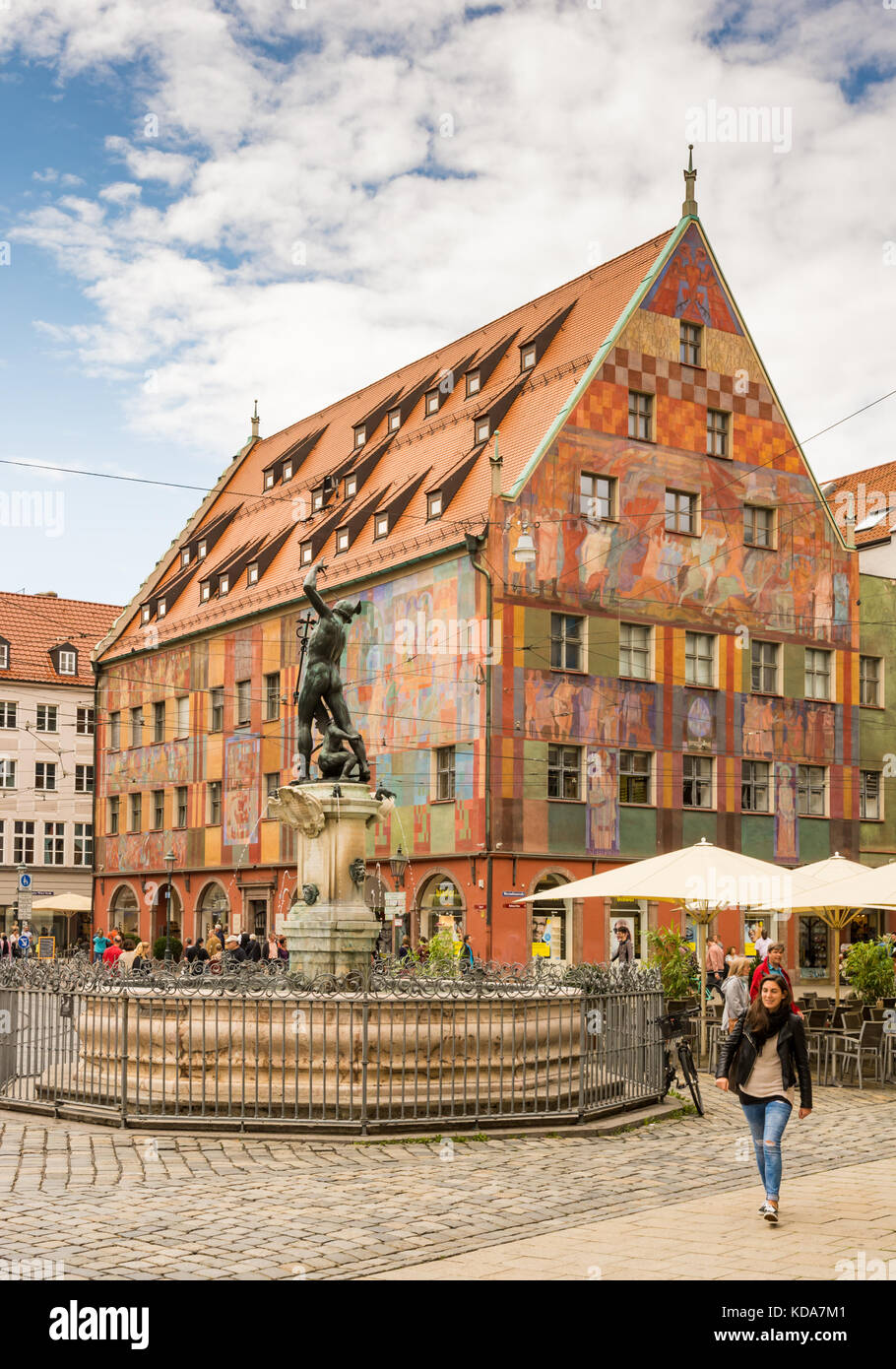 AUGSBURG, GERMANY - AUGUST 19: Old town with Merkur fountain and Weberhaus house in Augsburg, Germany on August - Stock Image