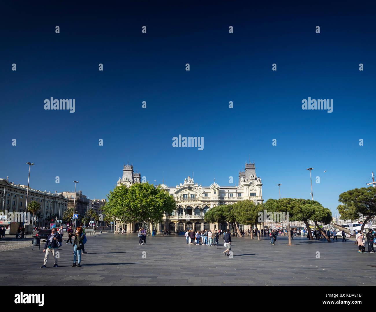 Port vell landmark catalan building in barcelona port area in spain - Stock Image