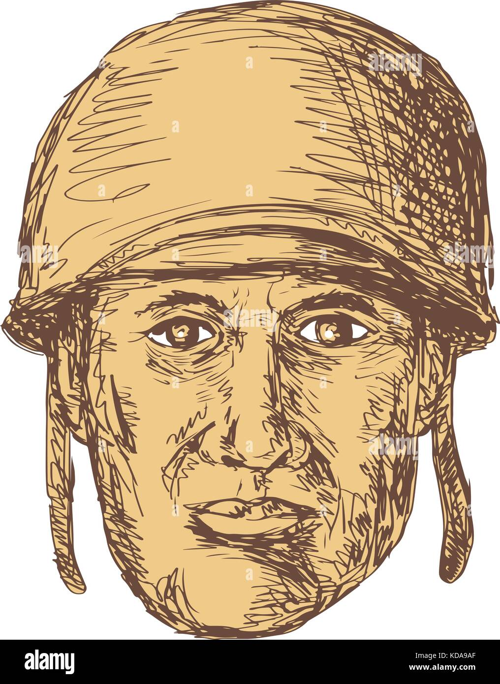 Drawing sketch style illustration of a WW2 or world war two American Soldier Head wearing a helmet viewed from front - Stock Vector