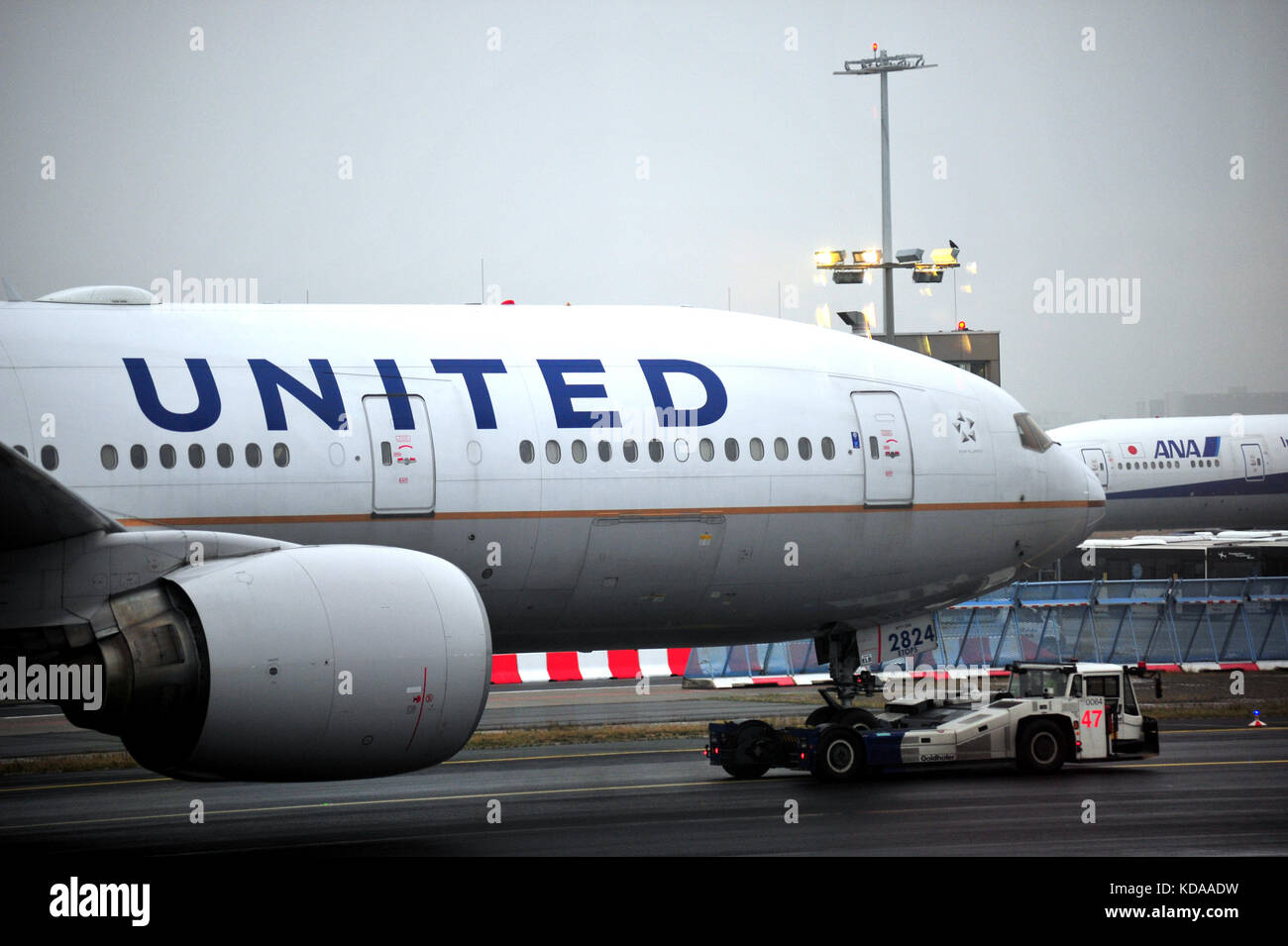 A United Airlines passenger plane taxiing at Frankfurt airport in Germany. - Stock Image