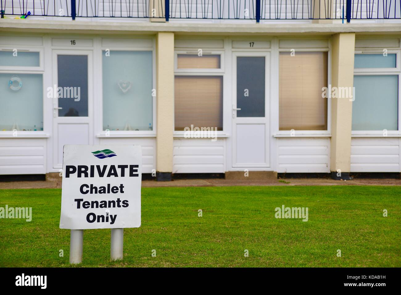 PRIVATE - chalet tenants only. A warning notice in front of seaside chalets in Felixstowe, Suffolk. - Stock Image