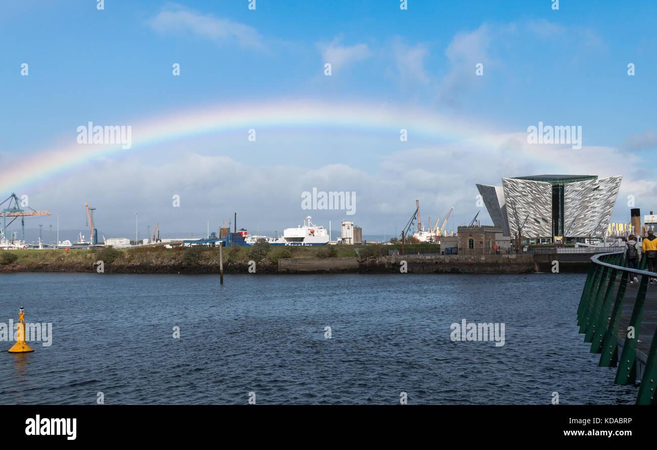 Rainbow over the Titanic Belfast, in Belfast city, Northern Ireland Stock Photo