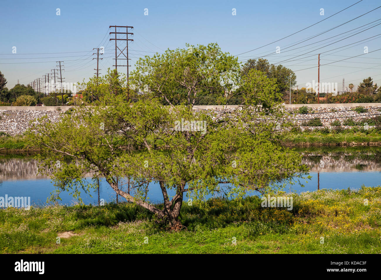 Los Angeles River near WIllow Street, Long Beach, California, USA Stock Photo