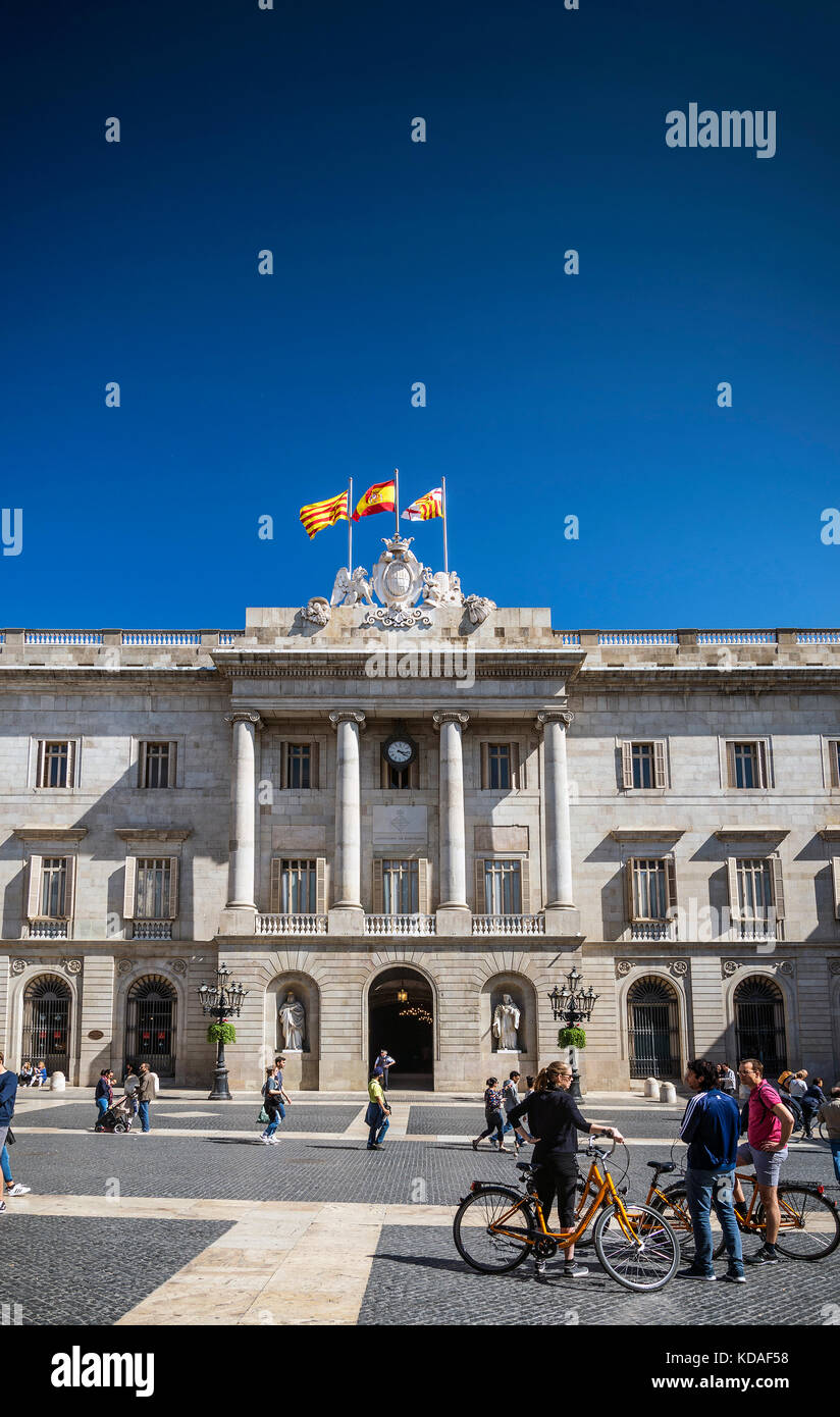 town hall landmark building at Plaza de Sant Jaume barcelona spain - Stock Image