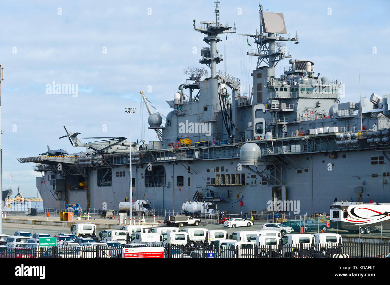 Visiting foreign warships in Port of Fremantle for naval exercises and R&R Stock Photo