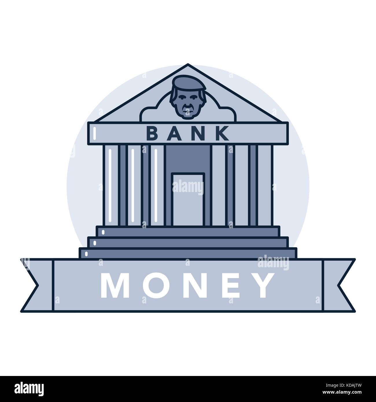 Vector illustration of a bank safe on white background with lettering. Money and financial institutions topic. - Stock Vector