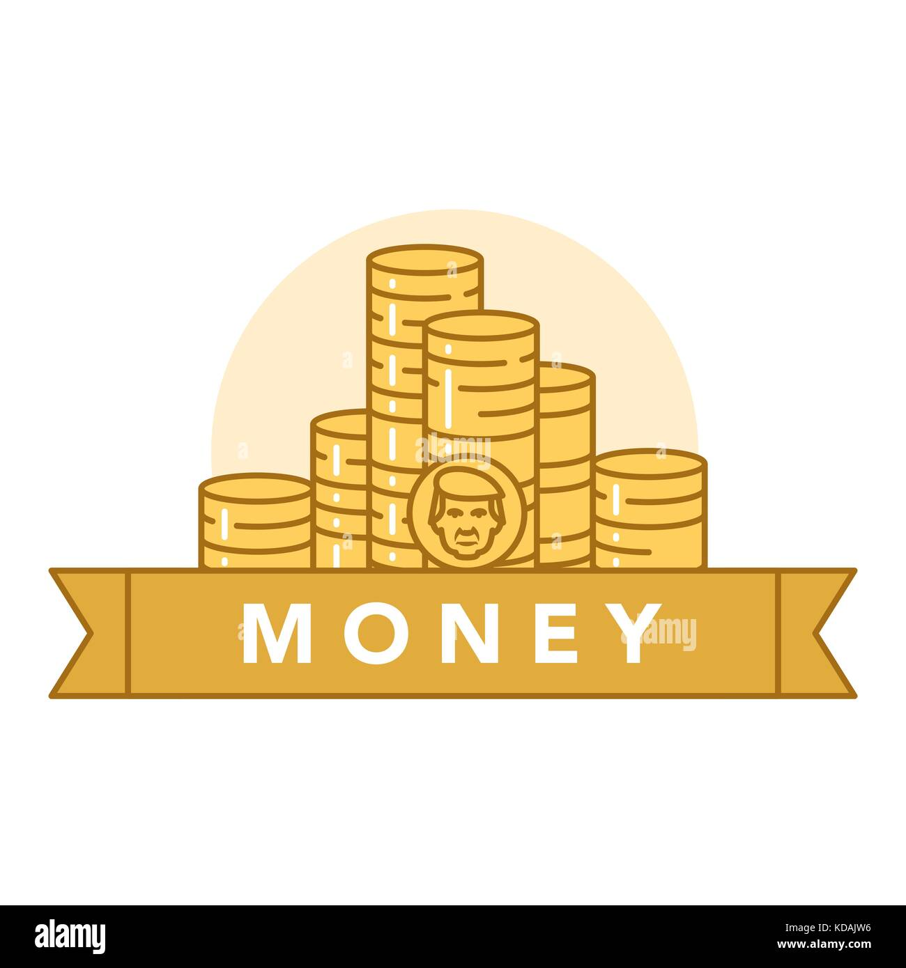 Vector illustration of golden coins on white background with lettering. Money and financial institutions topic. Stock Vector