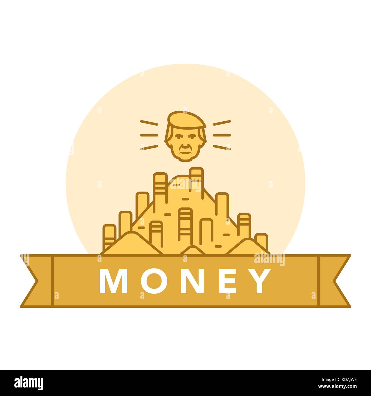 Vector illustration of golden coins on white background with lettering. Money and financial institutions topic. - Stock Vector