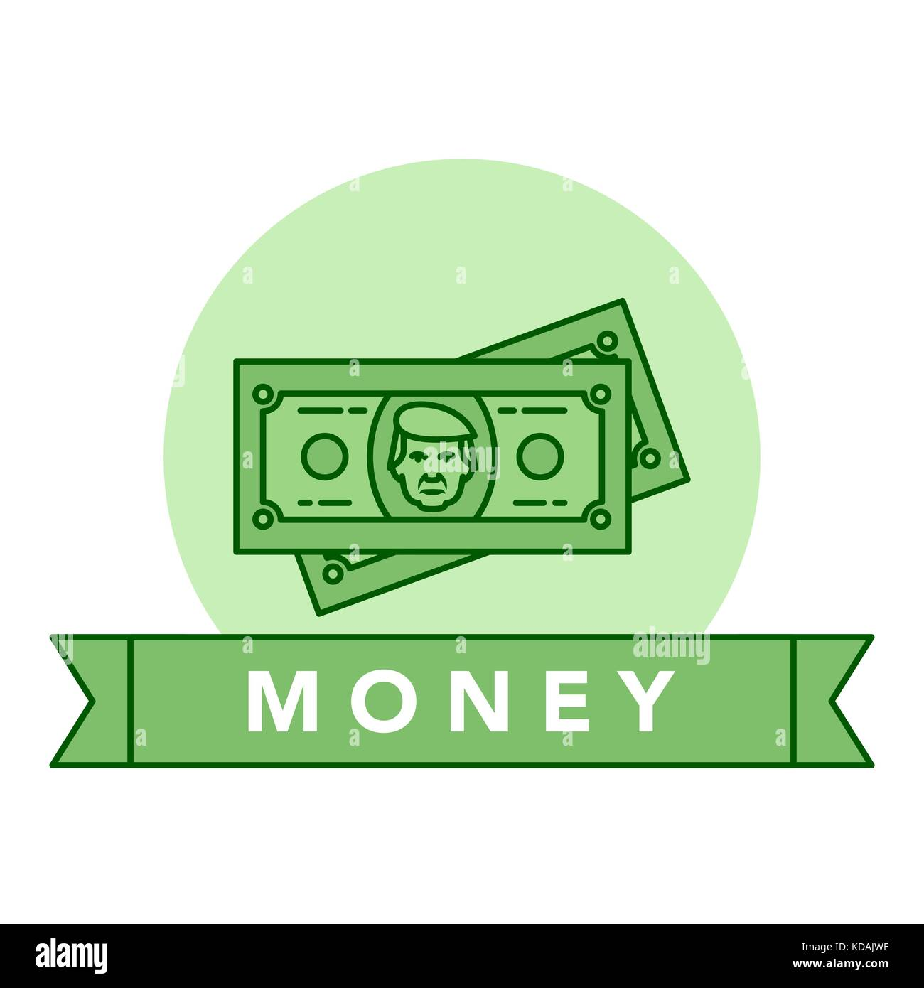 Vector illustration of the green banknote on white background with lettering. Money and financial institutions topic. - Stock Vector