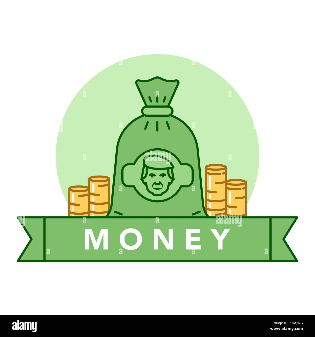 Vector illustration of a green money bag and golden coins on white background with lettering. Money and financial - Stock Vector