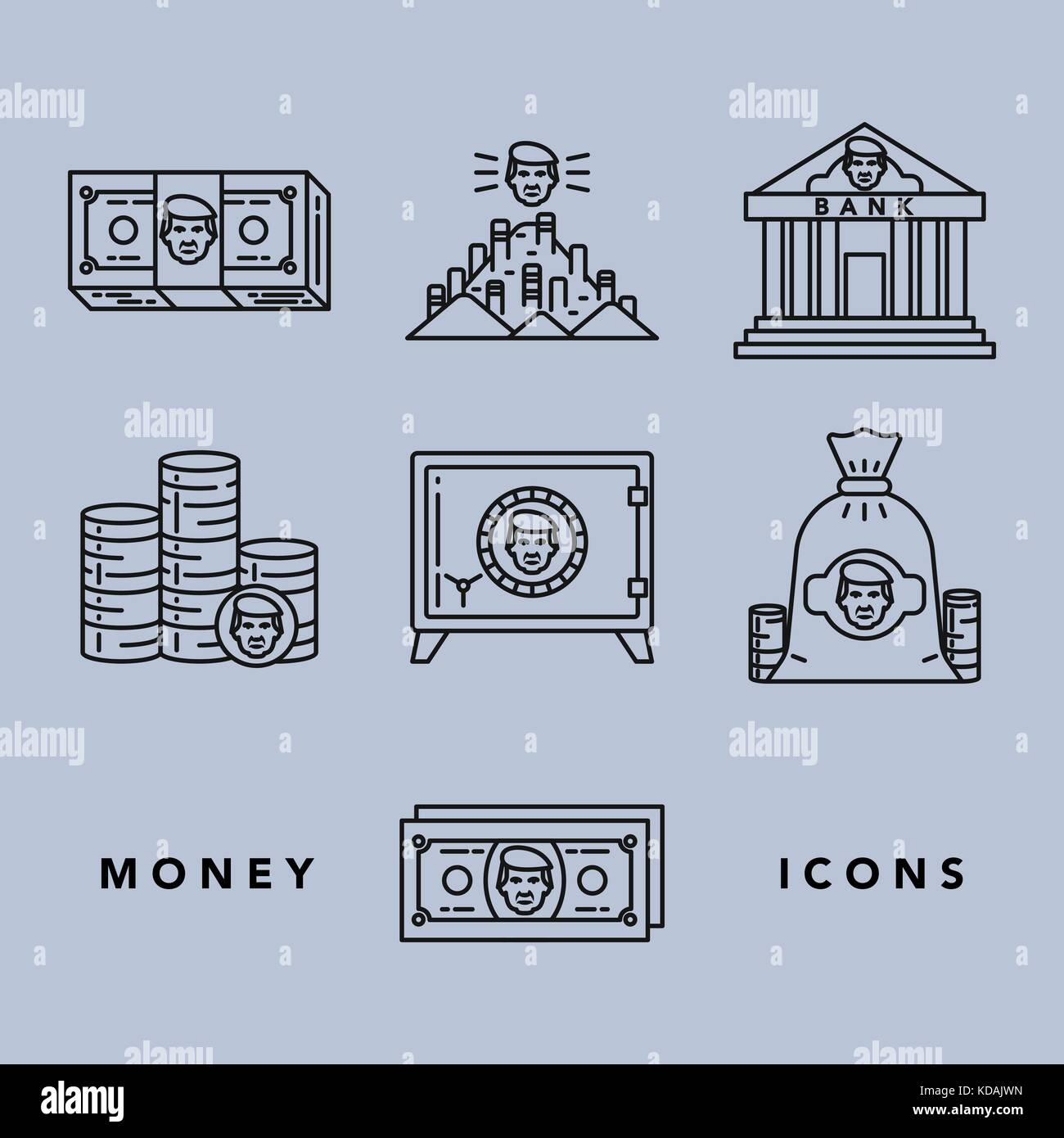 Vector icons set of money and finance attributes such as banknotes, coins, strongbox and bank on white background Stock Vector