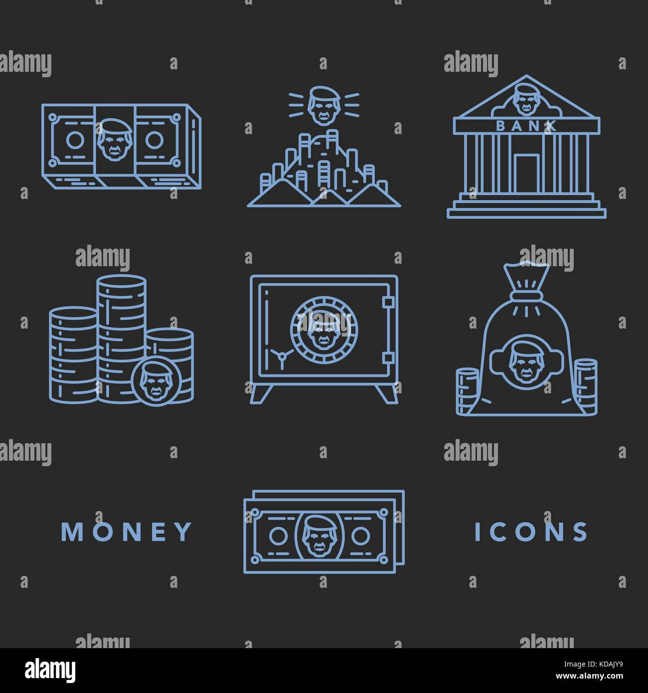 Vector icons set of money and finance attributes such as banknotes, coins, strongbox and bank on white background - Stock Vector