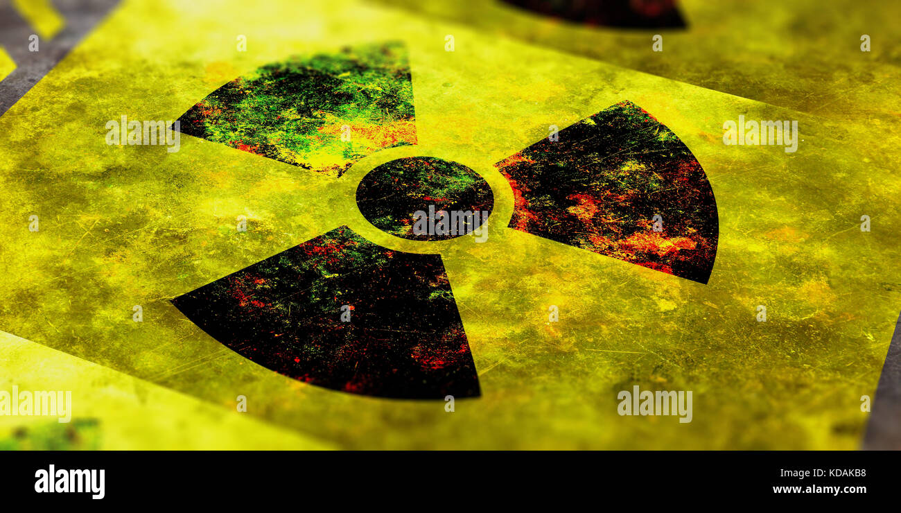 Radiation symbol on yellow background, view from above. 3d illustration - Stock Image