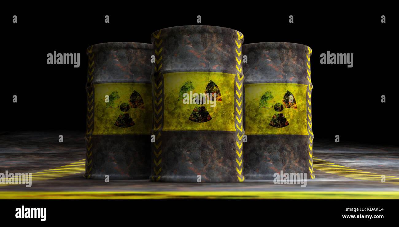 Toxic waste concept. Radiation symbol on oil barrels, dark background. 3d illustration - Stock Image