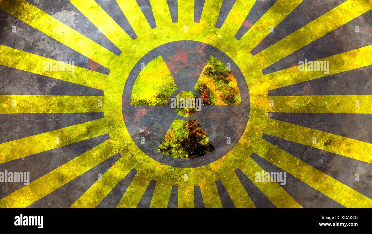 Radiation symbol on yellow background. 3d illustration - Stock Image