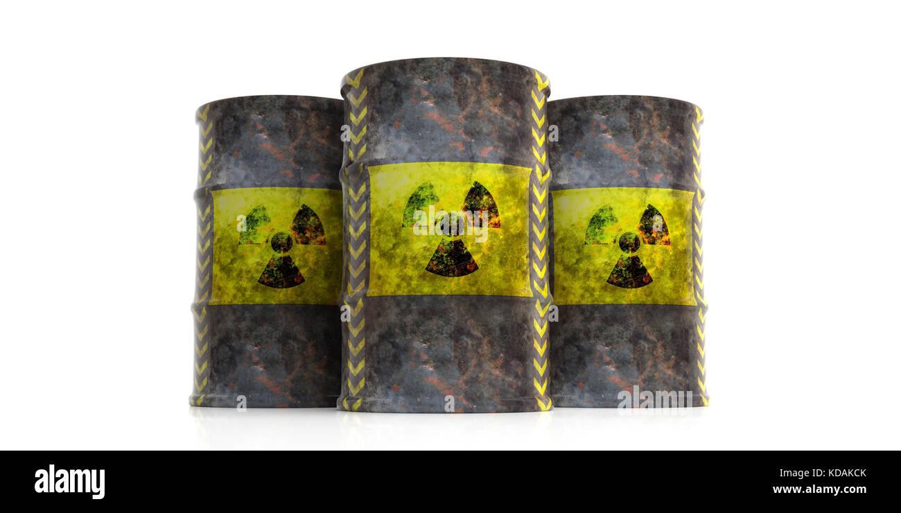 Toxic waste concept. Radiation symbol on oil barrels, white background. 3d illustration - Stock Image