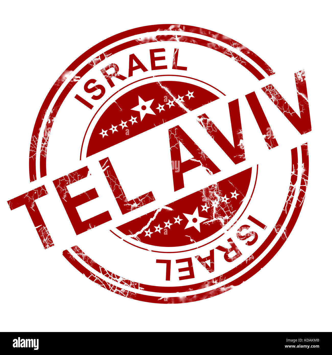 Red Tel Aviv stamp with white background, 3D rendering - Stock Image
