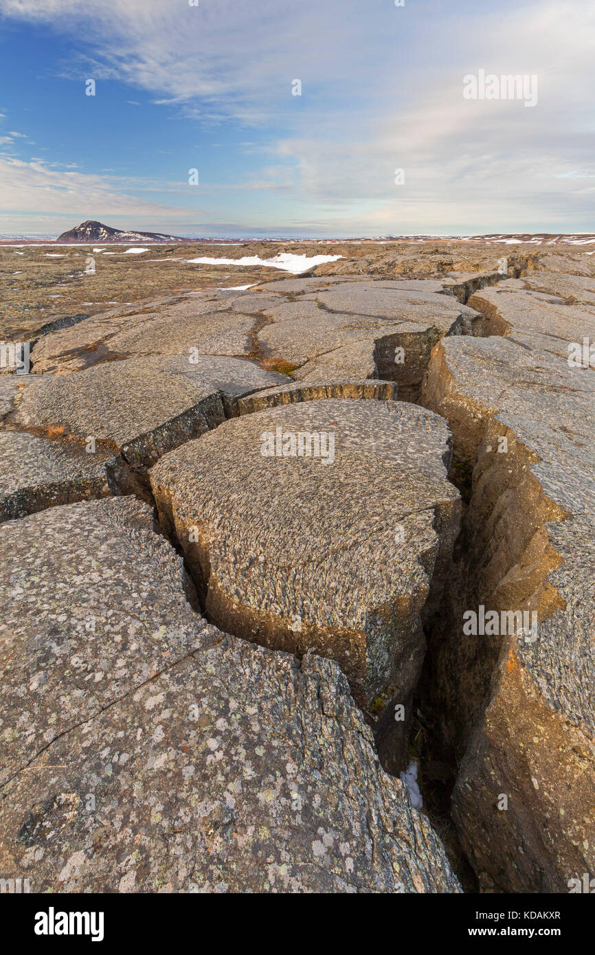 Grjotagia gaping fissure / Grjótagjá tectonic crack, Mid-Atlantic Ridge running through Iceland at Eastern - Stock Image