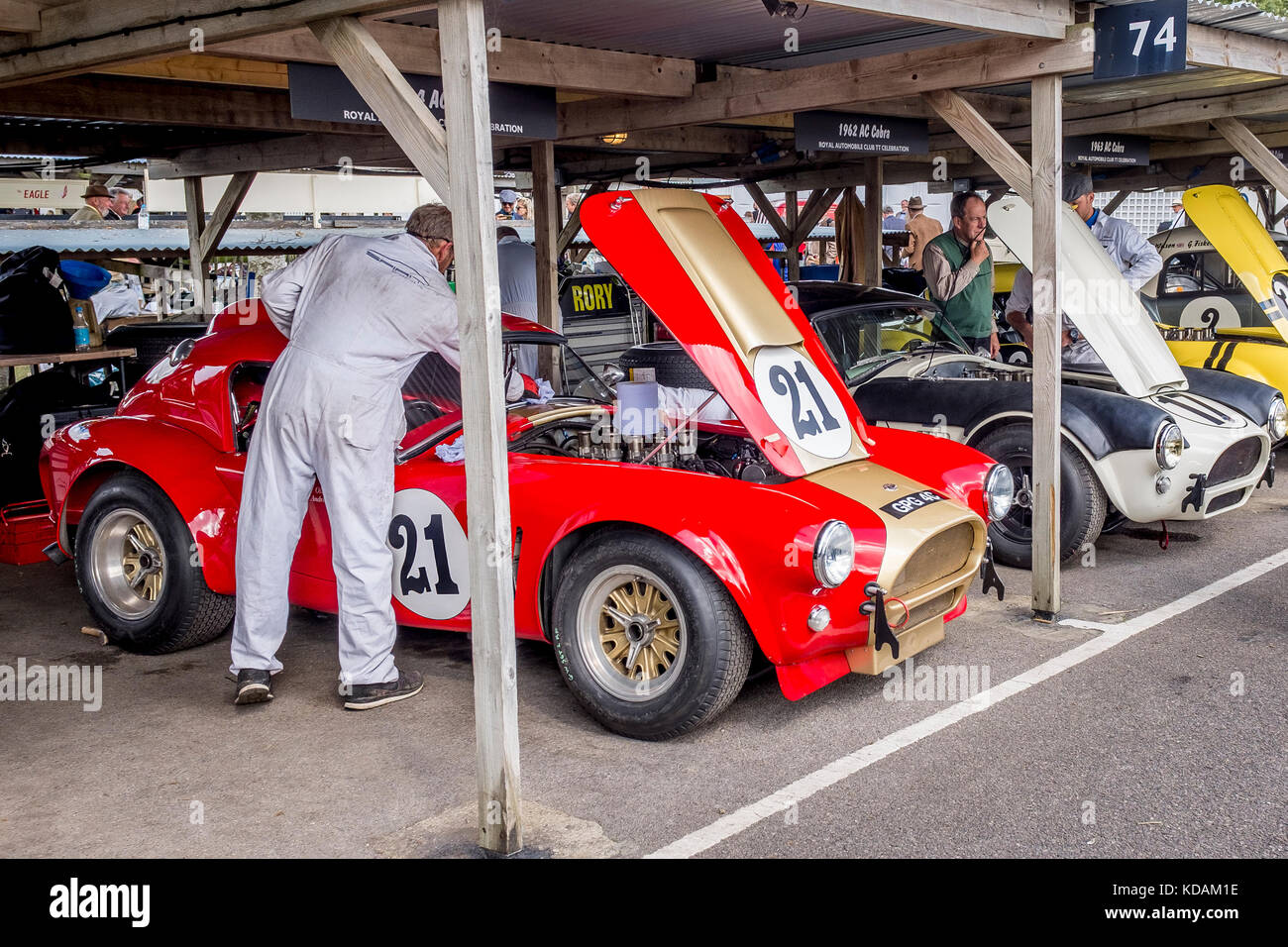 Grahame Bryant's 1964 AC Cobra is prepared by the mechanic in the paddockat the 2017 Goodwood Revival, Sussex, - Stock Image