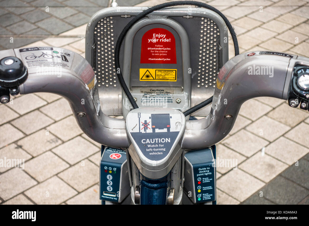 Transport for London - TFL - close view of a Santander pay-as-you-go cycle with instructions for use, at a docking - Stock Image