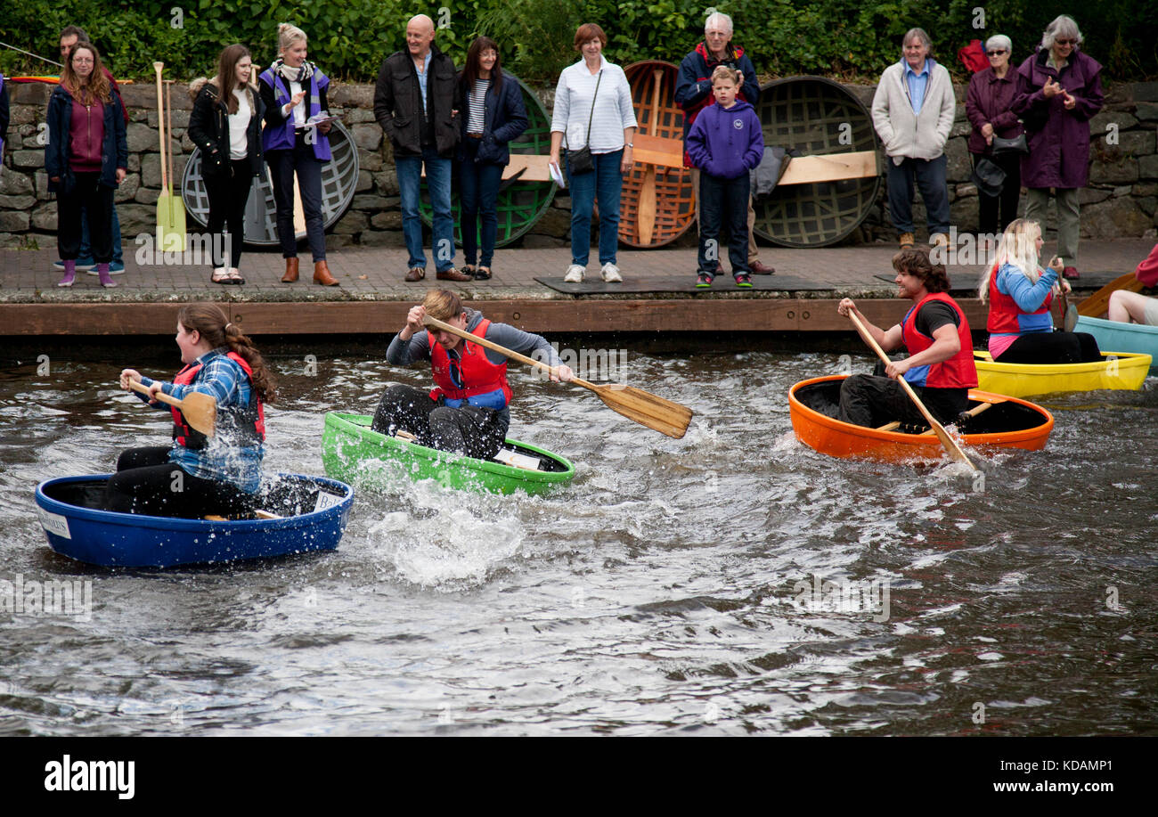 Coracle racing on a UK canal, Welsh borders - Stock Image
